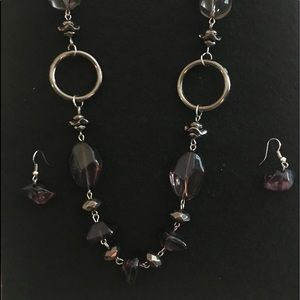Brown and silver earring set